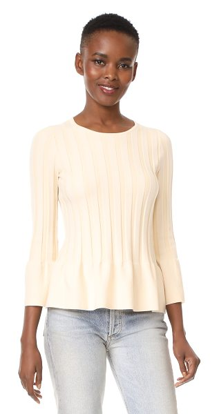 TSE Cashmere peplum 3/4 sleeve sweater in pale honey - A crew-neck TSE Cashmere sweater with wide ribbed...
