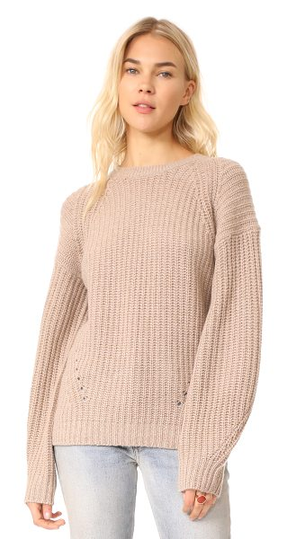 TSE Cashmere x claudia schiffer long sleeve pullover in dune - A collaboration between model Claudia Schiffer and TSE...