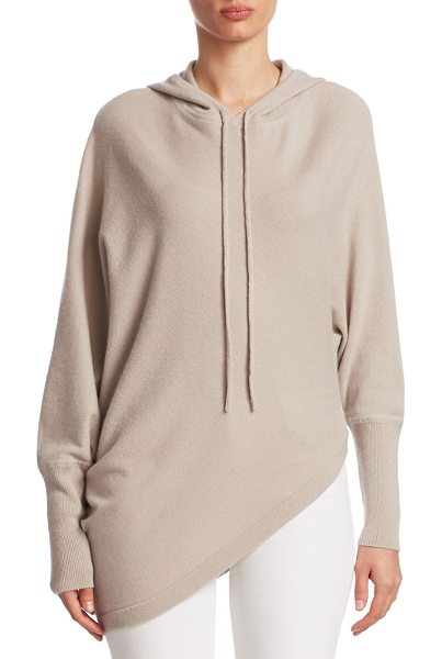 TSE x SFA asymmetric cashmere hoodie in sandstone - EXCLUSIVELY AT SAKS FIFTH AVENUE. Cashmere hoodie in...