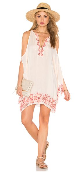 Tt Beach Isabel Cold Shoulder Dress in blush - 100% rayon. Hand wash cold. Unlined. Embroidery...