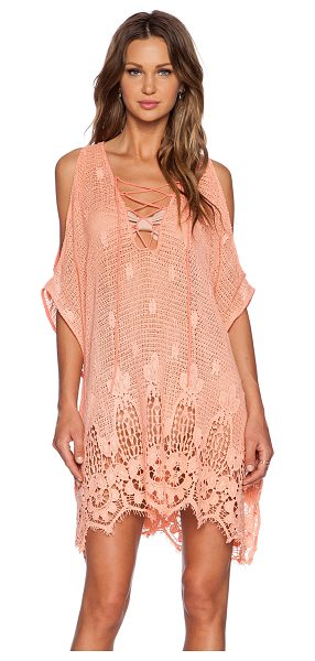 TT BEACH Swenton dress in coral - Self: 100% cottonContrast: 100% silk. Hand wash cold....