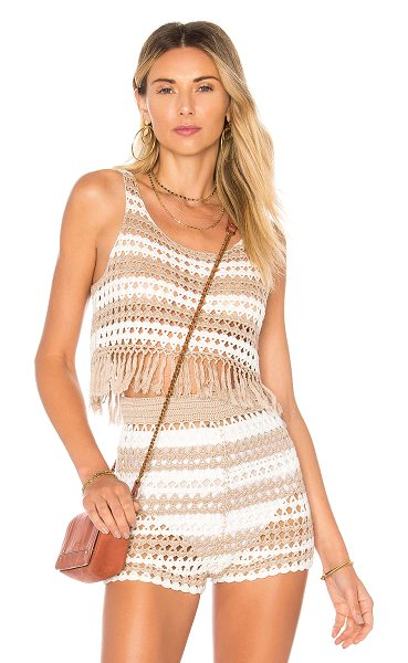 Tularosa Alison Tank in tan - 60% rayon 40% cotton. Hand wash cold. Crochet knit...