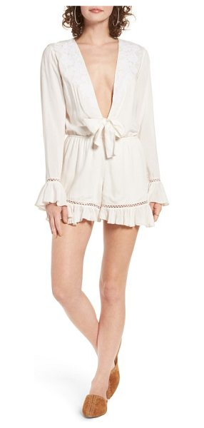 TULAROSA barlow plunging romper - Equal parts demure and daring, this soft white romper...