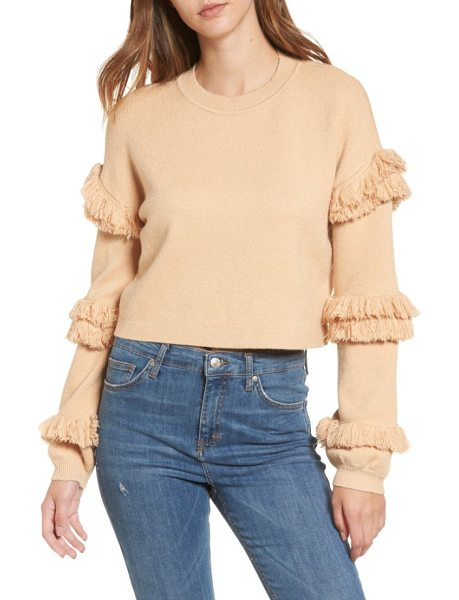 Tularosa bergen fringe trim pullover in nude - Bold stripes of fringe ring around the sleeves of this...