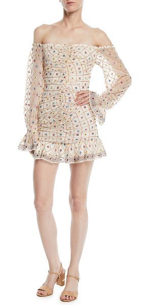 "Tularosa Kassandra Off-the-Shoulder Embroidered Mini Dress in cream - Tularosa ""Kassandra"" dress with embroidered detail and..."