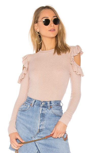 TULAROSA Ruffle Cold Shoulder Sweater in pink - Refined knitwear is given the girly treatment in this...