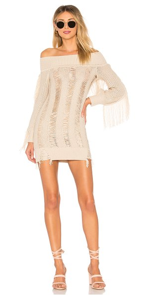 TULAROSA Selena Sweater Dress in cream - Sway and samba to your own rhythm in the Selena Sweater...