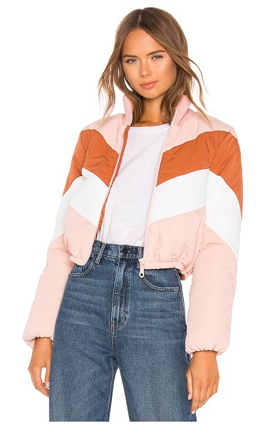 Tularosa Senna Striped Puffer in pink - Indulge into the city feel of Tularosa's Senna Striped...