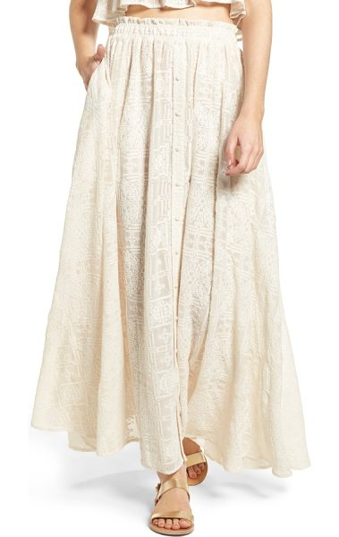 Tularosa stella maxi skirt in shell - Tonal cross-stitching adds beautiful texture to this...