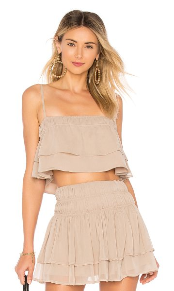 Tularosa Stella Top in taupe - Sun-kissed shoulders come out to play in the Stella Top....