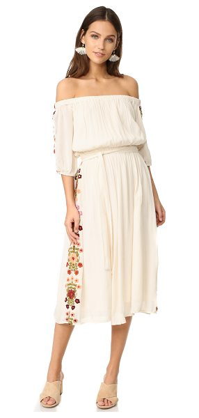 Tularosa marty midi dress in creme - An off-shoulder TULAROSA midi dress with romantic floral...