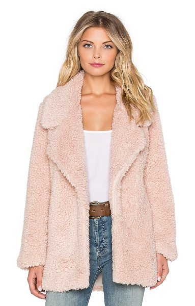 Tularosa Violet faux fur coat in pink - Acrylic blend. Dry clean only. Open front. Faux fur....