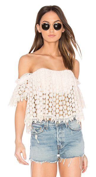Tularosa x REVOLVE Amelia Crop Top in pink - Play up this season's key asset in the off-the-shoulder...