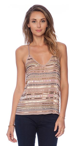 Tularosa X revolve crystal cami in blush - Poly blend. Sequined throughout. TULA-WS30. TR14F057....