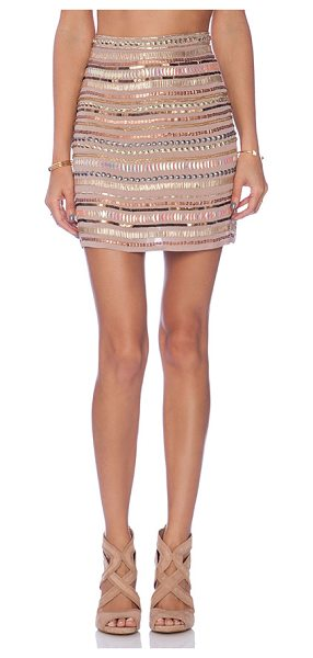 """Tularosa X revolve crystal skirt in beige - Poly blend. Dry clean only. Skirt measures approx 17""""""""..."""