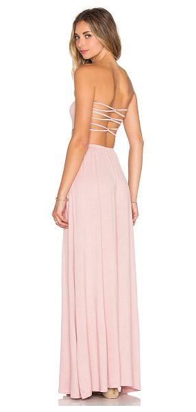 Tularosa X revolve demi strapless maxi dress in pink - 95% rayon 5% spandex. Hand wash cold. Unlined. Back...