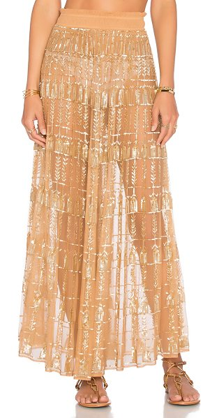Tularosa X revolve x rocky barnes stella skirt in metallic gold - 100% poly. Hand wash cold. Unlined. Elastic waist....