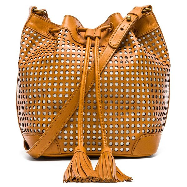 Twelfth St. by Cynthia Vincent Addison bucket bag in tan - Perforated leather exterior with printed fabric lining....