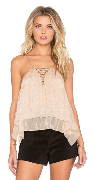 Twelfth St. by Cynthia Vincent Envelope lace up cami in beige - Silk blend. Front lace-up with tie closure. Embroidered...