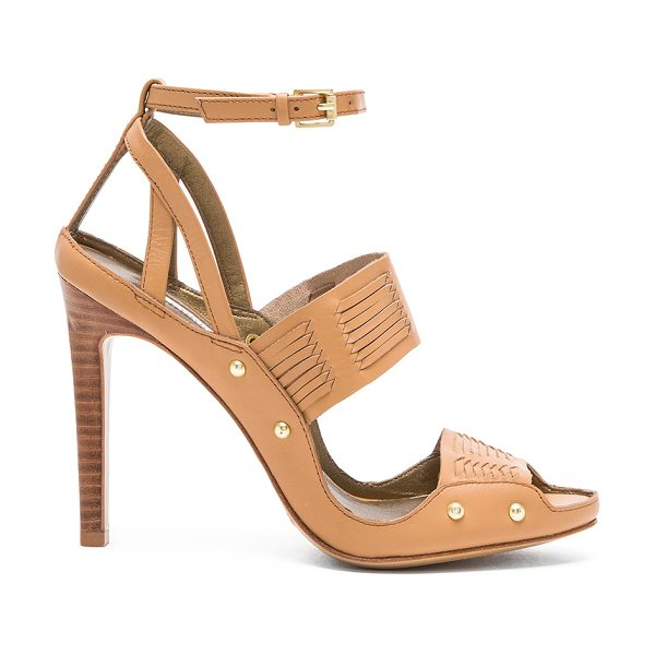 """Twelfth St. by Cynthia Vincent Jigsaw heel in tan - Leather upper and sole. Heel measures approx 4"""""""" H...."""
