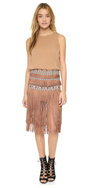 Twelfth St. by Cynthia Vincent Ocean fringe dress in champagne - Embroidered ribbons and tiered fringe give this Twelfth...