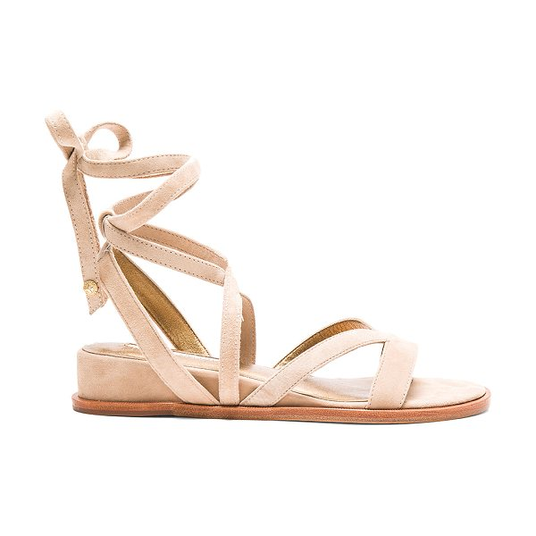 Twelfth St. by Cynthia Vincent Patience sandal in beige - Suede upper with leather sole. Wrap ankle with tie...