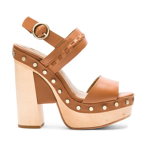 Twelfth St. by Cynthia Vincent Potent heel in tan - Leather upper and sole. Ankle strap with buckle closure....
