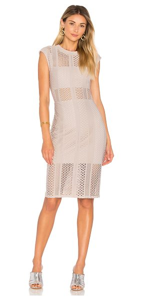 Twenty Crafted Mesh Midi Dress in taupe - Self: 80% poly 20% spandexLining: 100% poly. Dry clean...