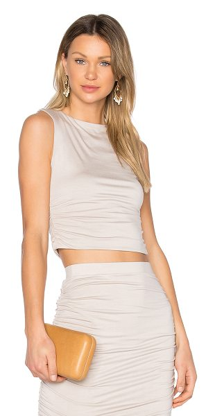 Twenty Superior Cropped Tank in taupe - 96% modal 4% spandex. Hand wash cold. Jersey knit...