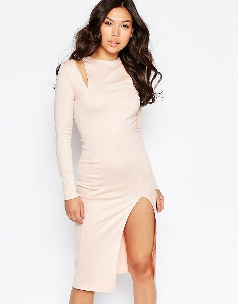 TWIN SISTER Cut Out Shoulder Midi Dress - Midi dress by Twin Sister, Smooth stretch fabric, Round...