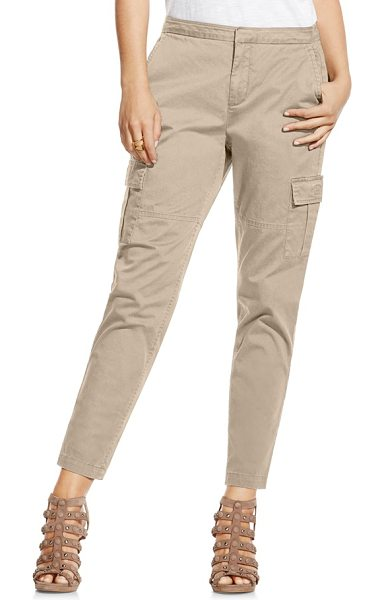 Two by Vince Camuto cotton chino crop cargo pants in khaki tan - Lightweight cotton enhances the relaxed look of...