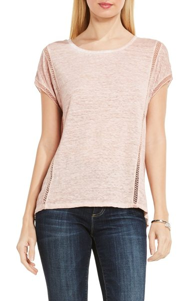 Two by Vince Camuto linen tee in blush pink - Airy ladder lace stripes let cool breezes filter through...