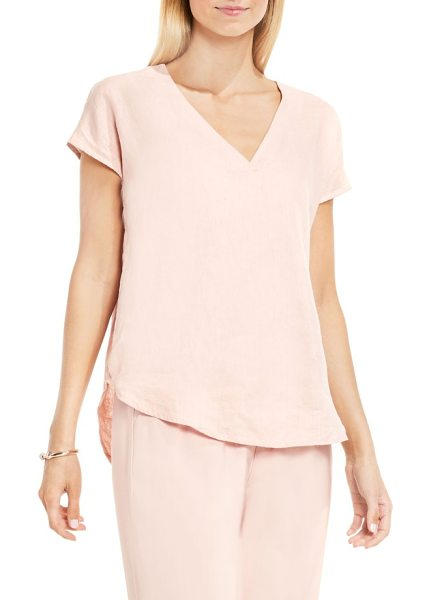 Vince Camuto two by  linen v-neck blouse in pink - Capped dolman sleeves and a curved hem frame the relaxed...