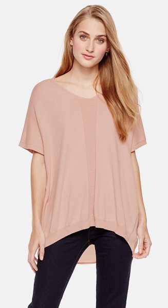 Two by Vince Camuto mixed media oversize v-neck pullover in rose dusk - A cotton-blend top in a slouchy, oversized cut is...