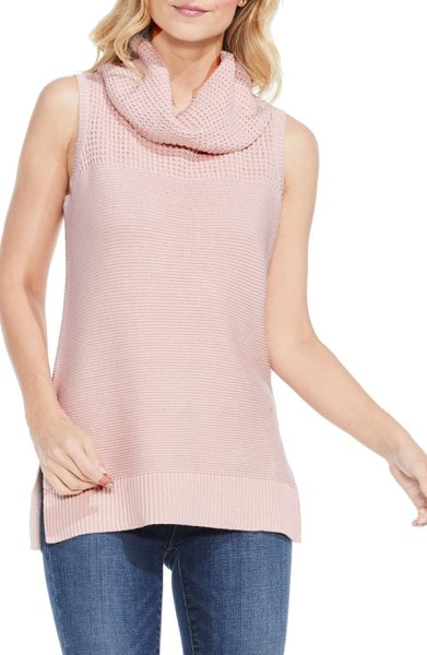 Two by Vince Camuto sleeveless cowl neck sweater in rose buff - Waffle stitching textures the drapey cowl and yoke of a...
