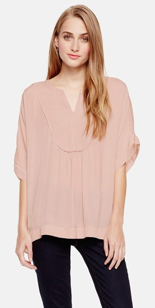 Two by Vince Camuto split neck charmeuse blouse in rose dusk