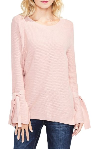 Two by Vince Camuto texture stitch tie-sleeve top in light rosewood - A feminine, tactile texture enriches this cozy pullover,...