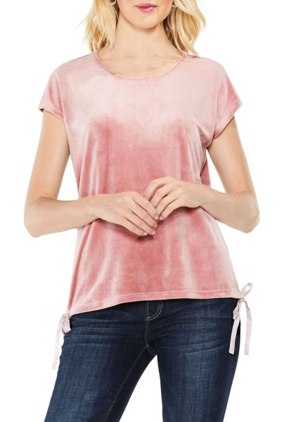 TWO BY VINCE CAMUTO vince camuto side tie velour top - An everyday top is upgraded in soft, stretchy velour...