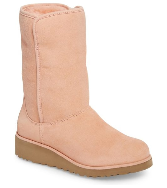 Ugg amie in tropical peach wool - Water-resistant suede upgrades a classic short boot,...