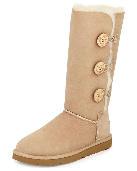 Ugg Bailey Triple-Button Tall Boot in chocolate - UGG twin-face sheepskin tall boot. Dyed lamb shearling...