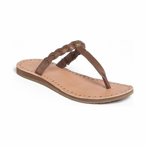 Ugg bria flip flop in chocolate - Laser-cut perforations and a braided leather strap lend...