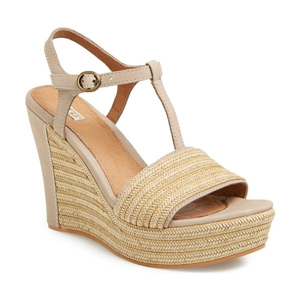 Ugg fitchie t-strap wedge sandal in oyster - Braided jute with leather trim details the toe strap and...