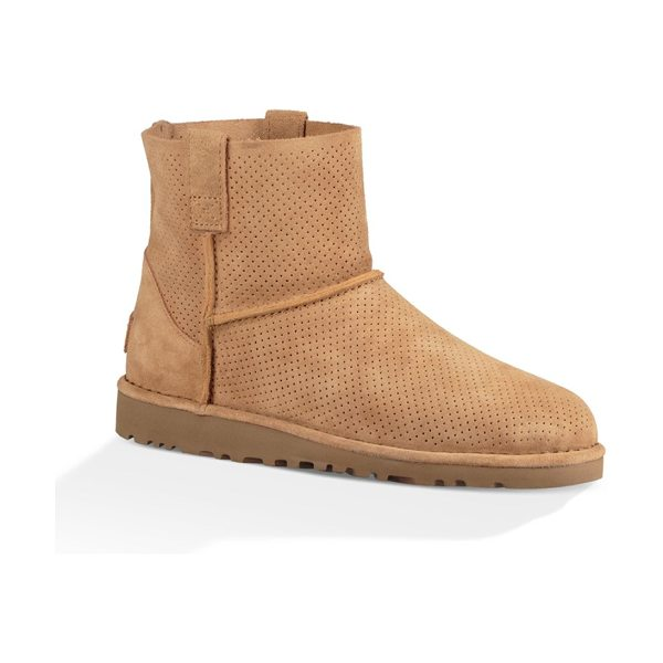 Ugg classic unlined mini perforated suede booties in tawny - Unlined mini suede bootie with allover perforations....