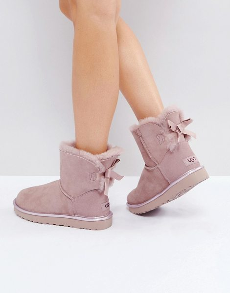Ugg Mini Bailey Bow II Dusk Metallic Boots in pink - Boots by UGG, Suede upper, Faux-fur lining, Tied detail...