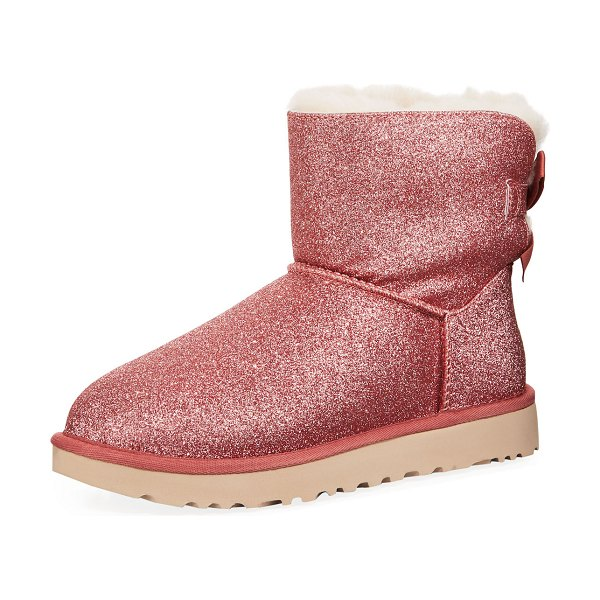 Ugg Mini Bailey Bow Sparkle Boots in pink - UGG sparkling brushed twin-face sheepskin booties. Dyed...