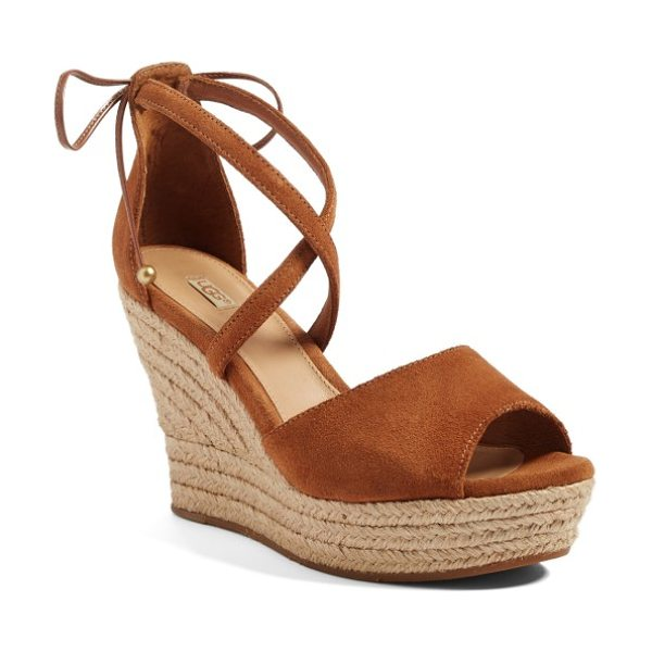Ugg ugg reagan sandal in brown suede - An espadrille wedge adds ample vintage appeal to an...