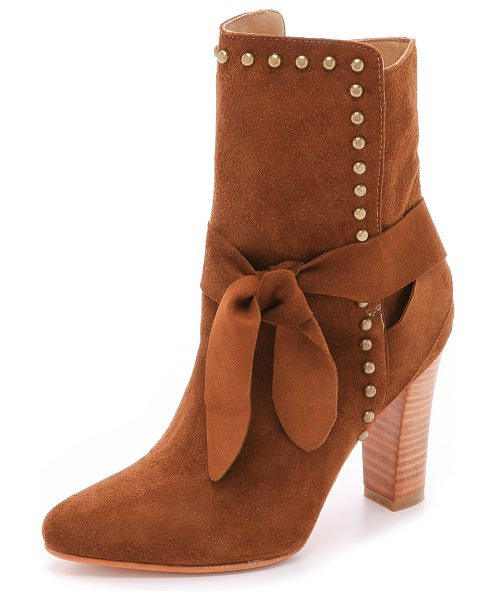 Ulla Johnson Aggie suede booties in tobacco - Antiqued studs surround the split shaft of these suede...