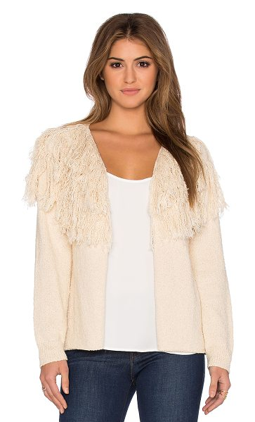 Ulla Johnson Astras cardigan in beige - 100% cotton. Dry clean only. Open front. Fringe trim...