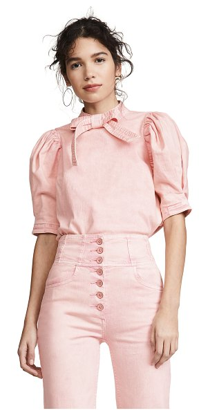 Ulla Johnson briony top in rose - Fabric: Denim Stone-washed Bow at neckline Pullover...