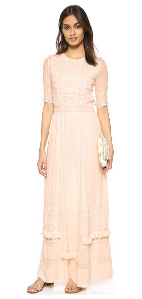 ULLA JOHNSON Clara dress in peony - Delicate lace and embroidered detailing give this silk...